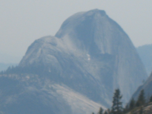 The back side of Half Dome as seen from a rest stop in Tuolumne Meadows, June 2008